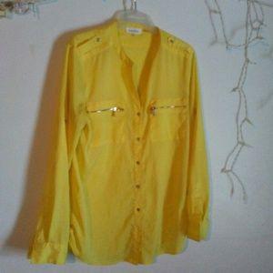 Calvin Klein yellow button up medium